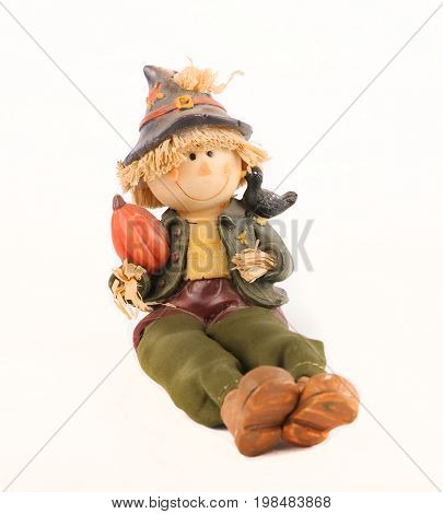 Scarecrow collection figure with pumpkin on white background
