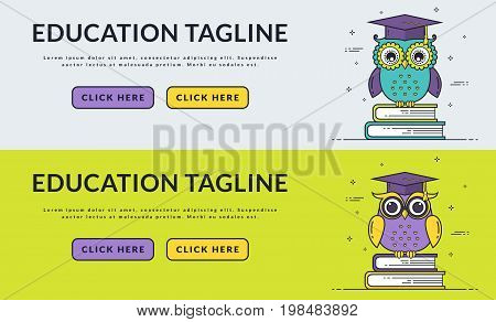 Education web banners with smart owls sitting on books. Back to school graduation or learning themes. Vector set. Flat line design with space for text and two buttons.