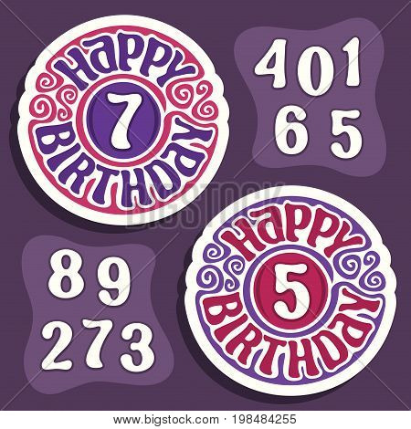 Vector logo for Happy Birthday holiday: purple sign for anniversary of boys kids and red emblem for happy birthday girls children, constructor set with isolated numbers numeral for different ages.