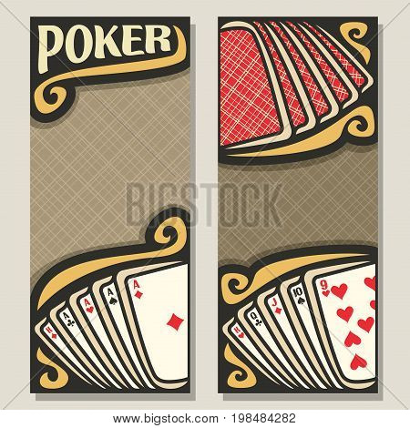 Vector vertical banners for Poker gamble: red backs playing card on table top view, 2 invite tickets in poker club, card combinations four aces and straight, templates with brown background for text.