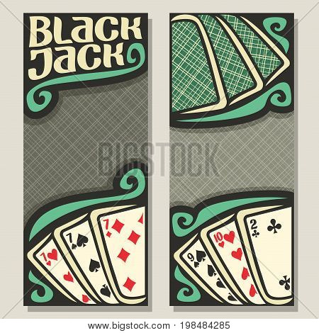 Vector banners for Blackjack gamble: green backs playing card on table top view, invite ticket in casino, blackjack win card combinations, templates with gray background for text on black jack theme.
