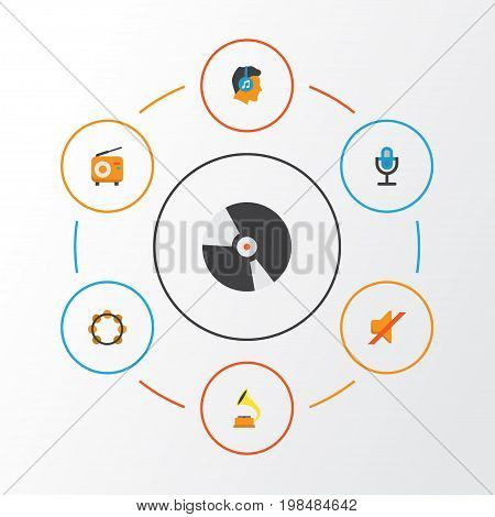 Multimedia Flat Icons Set. Collection Of Shellac, Dj, Male And Other Elements