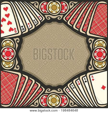 Vector poster for Poker gamble: frame with brown background for text on gambling theme, vintage poker table with retro playing card of red backs top view, border with aces and gaming chips for casino
