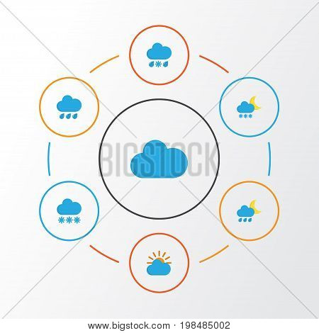 Climate Flat Icons Set. Collection Of Drizzles, Snow, Cloud And Other Elements