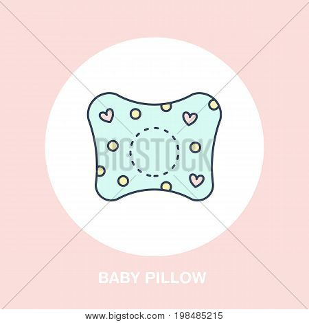 Baby orthopedic pillow icon, line logo. Flat sign for ergonomic healthy sleeping.