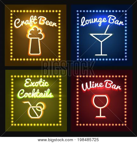 Set of glowing bar neon signs with Shining and glowing neon effects. Vector illustration.