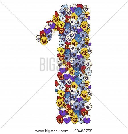 One digit made of multicolored pansies flowers. Floral element of colorful alphabet made from flowers. vector