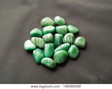 Tumbled Aventurine Stones For Crystal Therapy Treatments And Reiki Detail Isolated