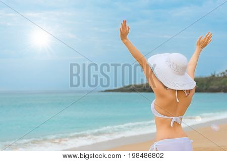 Sexy Woman Happy To Raise Her Hands To Celebrate
