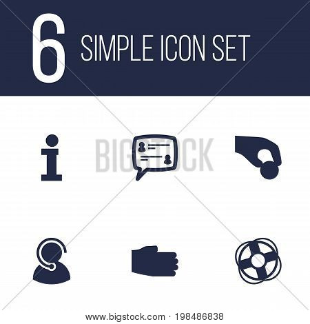 Collection Of Speaker, Ball, Support And Other Elements.  Set Of 6 Support Icons Set.