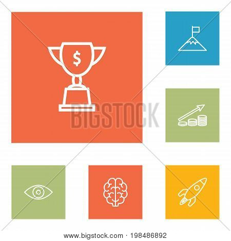 Collection Of Startup, Eye, Achievement And Other Elements.  Set Of 6 Idea Outline Icons Set.