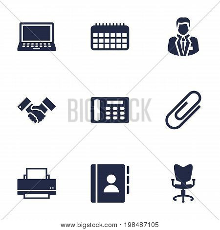 Collection Of Handshake, Laptop, Telephone Elements.  Set Of 9 Cabinet Icons Set.