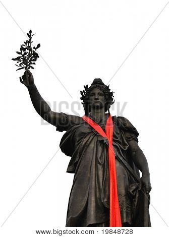 Marianne statue with a red scarf, symbol of the Republic, Paris, France