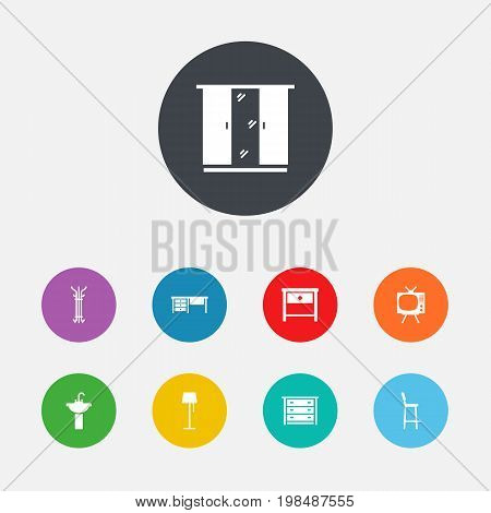 Collection Of Worktop, Sink, Bedside Table And Other Elements.  Set Of 9 Situation Icons Set.