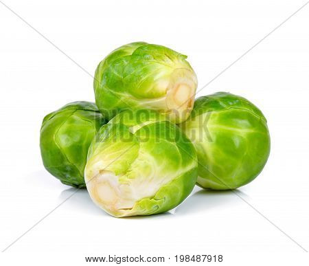 Brussel Sprout Isolated On The White Background
