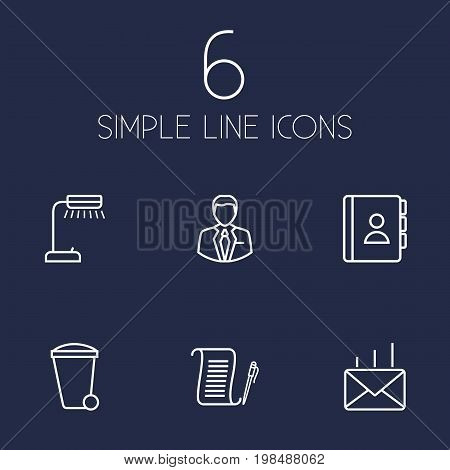 Collection Of Recycle Bin, Telephone Directory, Post And Other Elements.  Set Of 6 Bureau Outline Icons Set.