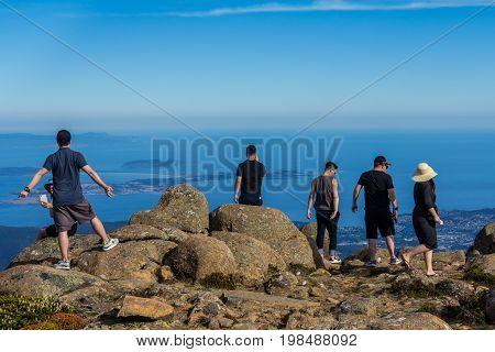 Mount Wellington Hobart Australia - 7 January 2017: the stunning summit of Mount Wellington overlooking Hobart and the south coast