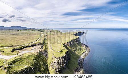 Aerial of the cliffs at Lealt Falls - Isle of Skye - Scotland, United Kingdom