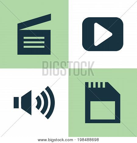 Multimedia Icons Set. Collection Of Memory, Megaphone, Play And Other Elements