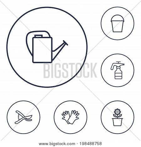 Collection Of Secateurs, Plant Pot, Safer Of Hand Elements.  Set Of 6 Household Outline Icons Set.