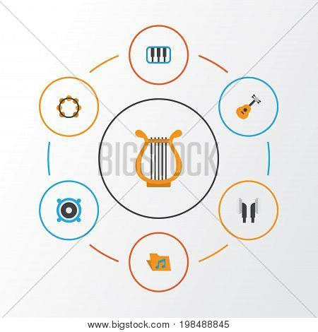 Music Flat Icons Set. Collection Of Rhythm, Portfolio, Acoustic And Other Elements