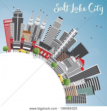 Salt Lake City Skyline with Gray Buildings, Blue Sky and Copy Space. Business Travel and Tourism Concept with Historic Architecture. Image for Presentation Banner Placard and Web.
