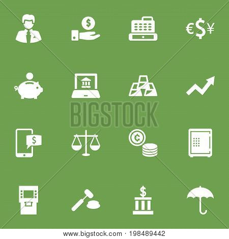 Collection Of Building, Ingot, Currency And Other Elements.  Set Of 16 Budget Icons Set.