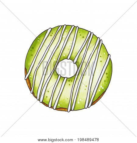 Donut With Green Glaze. Hand Drawn Marker Illustration.