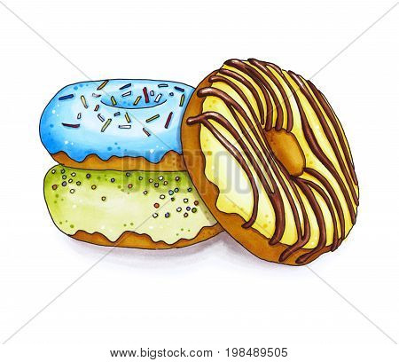 Three Colorful Marker Donut Isolated On White Background.