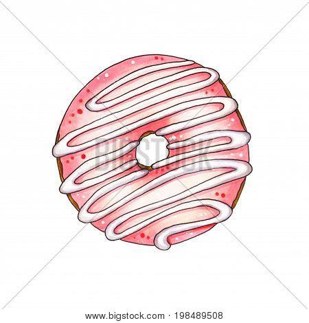 Donut With Pink Glaze. Hand Drawn Marker Illustration.