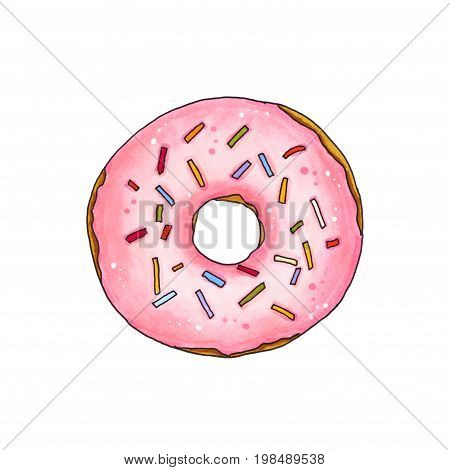 Donut With Pink Glaze And Sprinkles. Hand Drawn Marker Illustration.