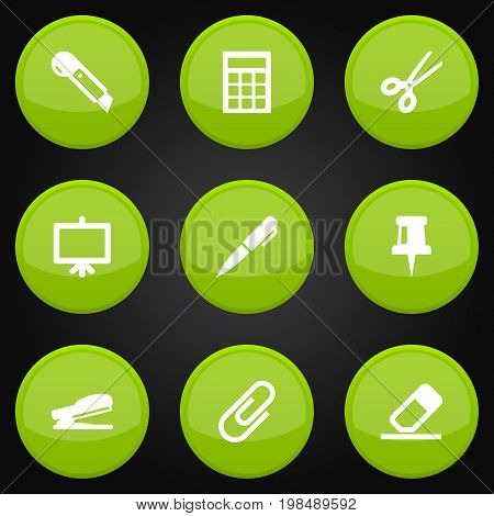 Collection Of Clip, Clippers, Calculate And Other Elements.  Set Of 9 Tools Icons Set.