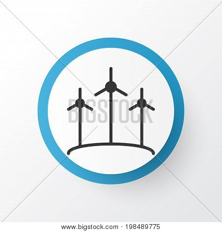 Premium Quality Isolated Windmill Element In Trendy Style.  Wind Power Icon Symbol.