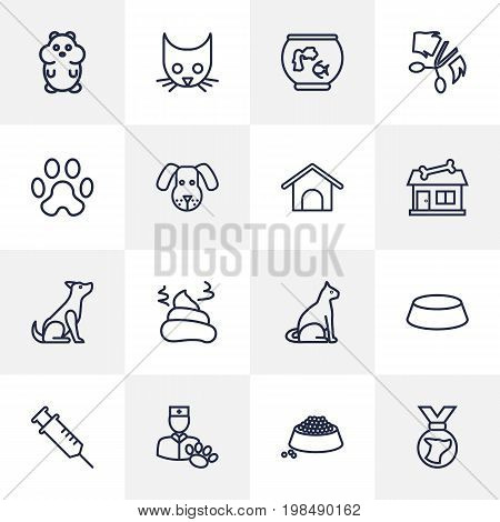 Collection Of Sitting, Pile Of Poo, Puppy And Other Elements.  Set Of 16 Mammal Outline Icons Set.