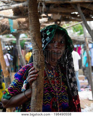 Portrait of tattooed Mbororo aka Wodaabe tribe woman - 01-03-2014 Poli Cameroon