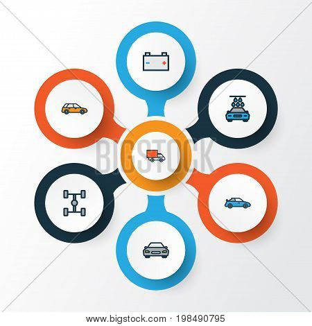 Automobile Colorful Outline Icons Set. Collection Of Carcass, Automobile, Washing And Other Elements