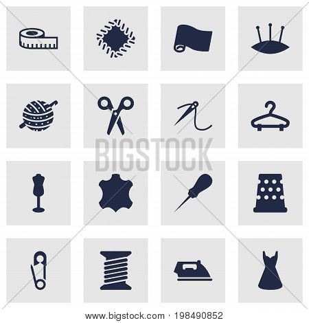 Collection Of Roll, Knitting, Skin And Other Elements.  Set Of 16 Sewing Icons Set.