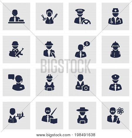 Collection Of Medic, Working, Leaner And Other Elements.  Set Of 16 Position Icons Set.