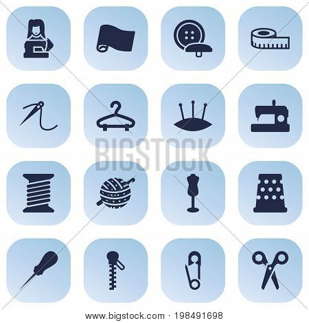 Collection Of Tailor, Machine, Pintle And Other Elements.  Set Of 16 Tailor Icons Set.