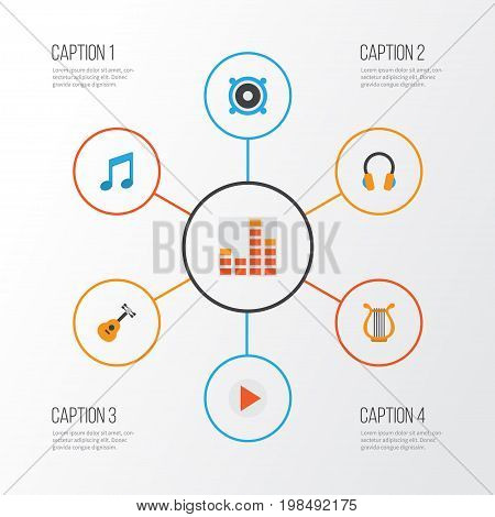 Audio Flat Icons Set. Collection Of Tone, Loudspeaker, Controlling And Other Elements