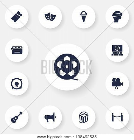 Collection Of Filmstrip, Cyberspace, Acoustic And Other Elements.  Set Of 13 Pleasure Icons Set.
