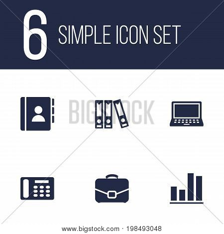 Collection Of Diagram, Address Book, Diplomat And Other Elements.  Set Of 6 Cabinet Icons Set.