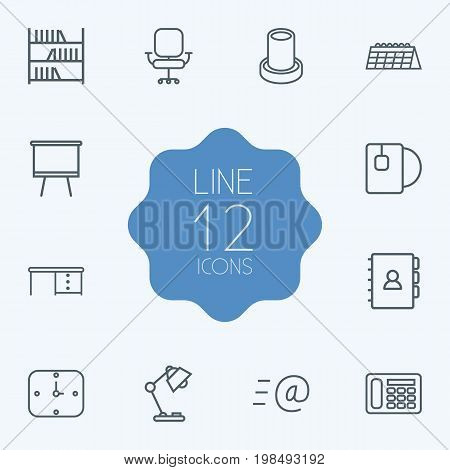 Collection Of Book, Bookshelf, Calendar And Other Elements.  Set Of 12 Workspace Outline Icons Set.