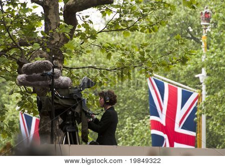 LONDON, UK - APRIL 29: Video camera on the mall at Prince William and Kate Middleton wedding, April 29, 2011 in London, United Kingdom