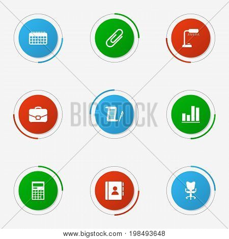 Collection Of Calculator, Address Book, Contract And Other Elements.  Set Of 9 Work Icons Set.