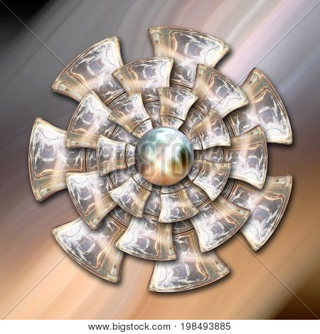 3D rendering combo artwork with glossy mill flower