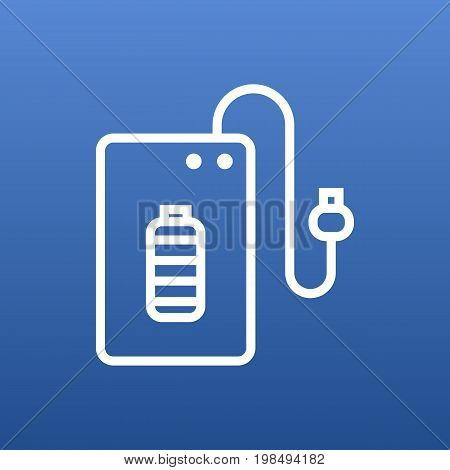 Vector Powerbank Element In Trendy Style.  Isolated Supply Outline Symbol On Clean Background.