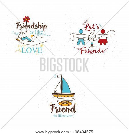 A set of 3 illustrations for the day of friendship.