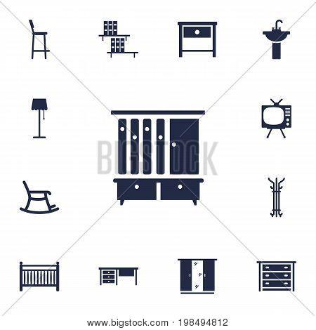 Collection Of Illuminator, Coat Stand, Sink Elements.  Set Of 13 Decor Icons Set.