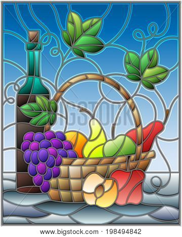 The illustration in stained glass style painting with a still life a bottle of wine and fruits on a blue background